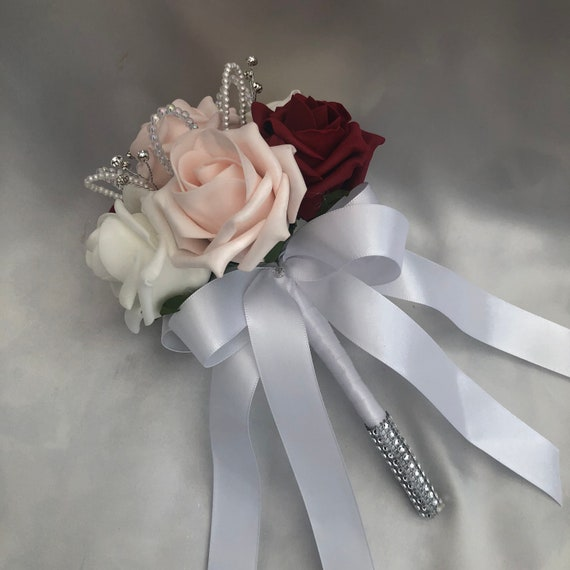 Artificial Wedding Flowers, Flower Girls Posy Bouquets, Baby Pink, Red, white Roses, crystals, pearls, diamantes