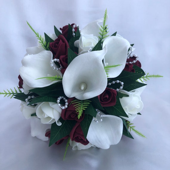 Artificial Wedding Bouquet, Bride, Bridesmaids Posy Bouquet with Calla Lilies, Burgundy and Ivory Roses, Foliage, Pearls