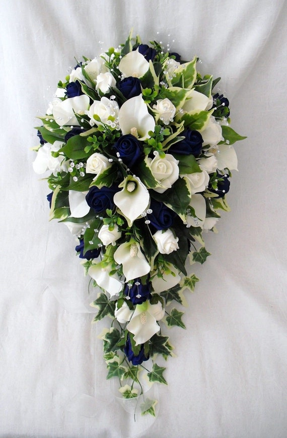 Artificial Wedding Flowers, Brides Teardrop Bouquet, Calla Lilies, Ivory and Navy Blue Roses, Crystal Sprays