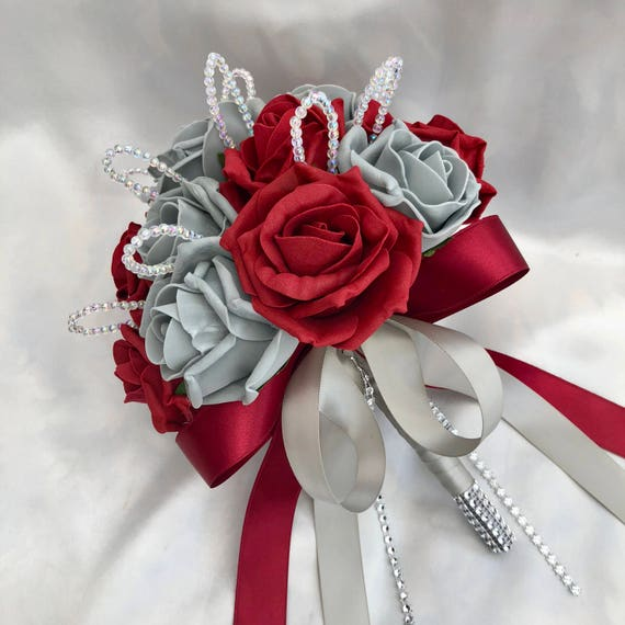 Artificial Wedding Flowers, Brides, Bridesmaids, Flower girls Posy Bouquet with Red, Grey Roses with crystal loops