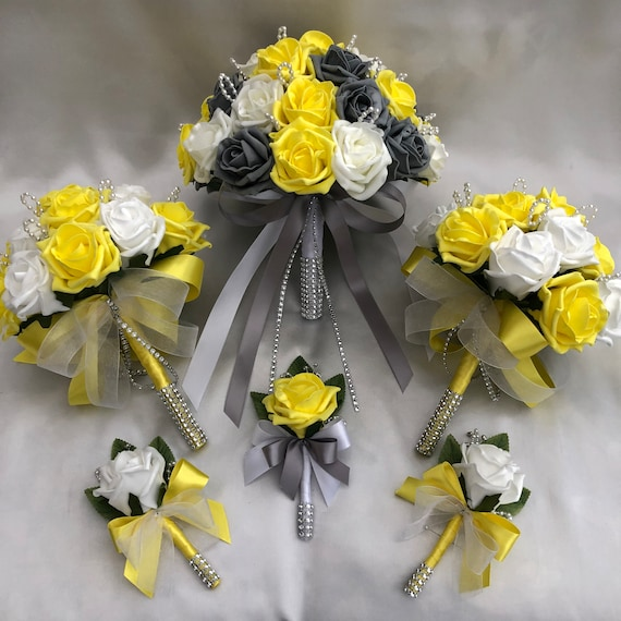 Artificial Wedding Flower Package, Brides Posy Bouquet, 2 x Bridesmaids Posies, 3 x Buttonholes, Yellow, Grey and White Roses