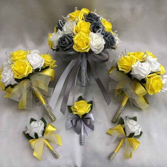 Artificial Wedding Bouquets, Packages, Brides Posy Bouquet, 2 x Bridesmaids Posies, 3 x Buttonholes, Yellow, Grey and White Roses