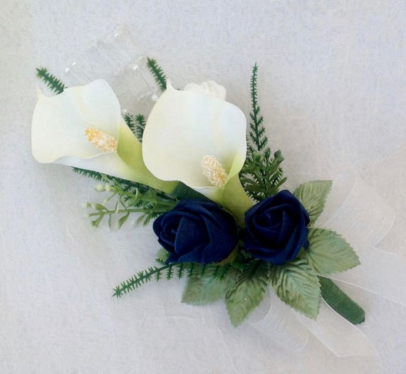 Artificial Wedding Flowers, Ladies Pin on Corsage, buttonhole, Boutonniere, Calla Lilies, Navy Blue Roses, Foliage, Crystal and Pearl Sprays