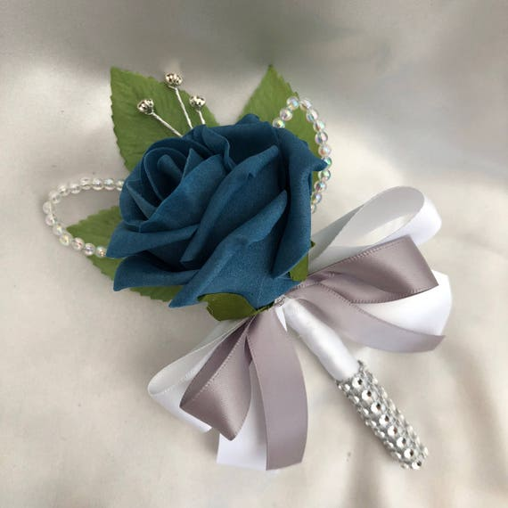 Artificial Wedding Flowers, Buttonholes, Boutonnieres, Ladies Corsage, Teal Blue Roses with crystals and diamantes