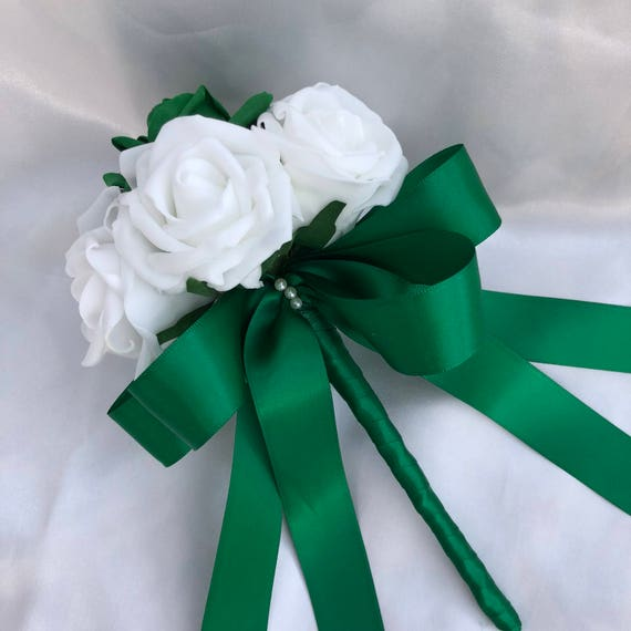 Artificial Wedding Flowers, Brides, Bridesmaids, flower girls Posy Bouquet with White and Bottle Green Roses, Satin ribbon