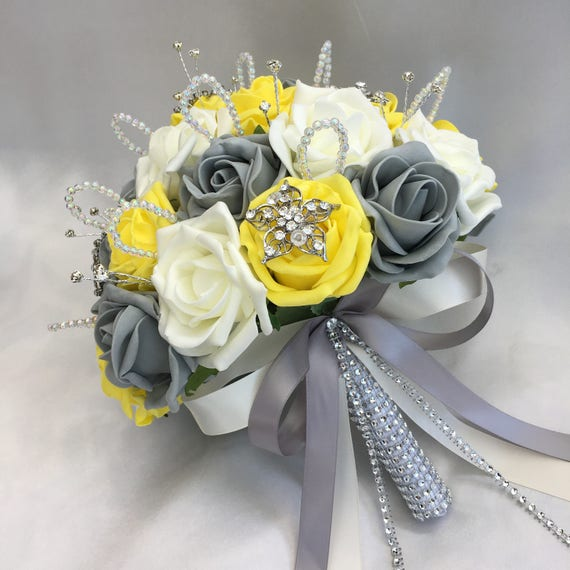 Artificial Wedding Flowers, Brides Posy Bouquet with Yellow, Grey and Ivory Roses with brooches, crystals and diamantes