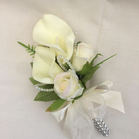 Artificial Wedding Flowers, Ladies Calla Lily and Rose Corsage, Ivory Real Touch Calla Lilies, Silk Roses, Crystal Loops