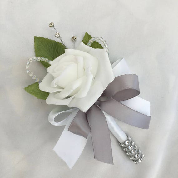 Artificial Wedding Flowers, Buttonholes, Boutonnieres, Ladies Corsage, White Roses with crystals and diamantes