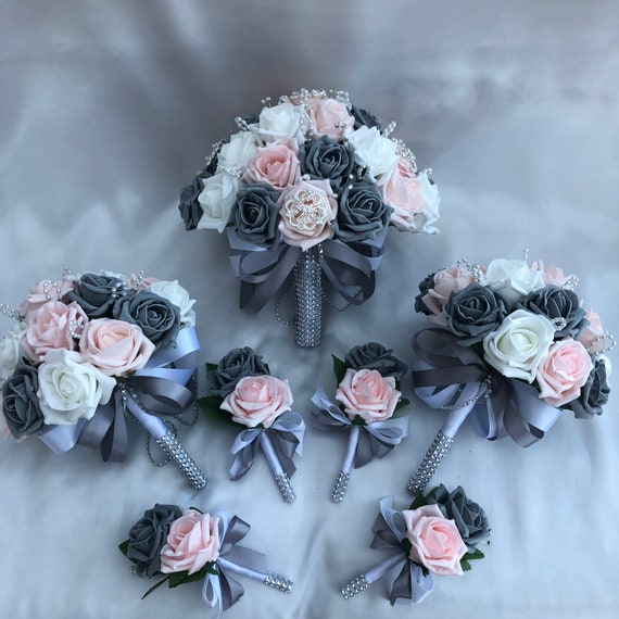 Artificial Wedding Flower Package, Brides Posy Bouquet, 2 x Bridesmaids Posies, 4 x Buttonholes, Baby Pink, Grey and White Roses