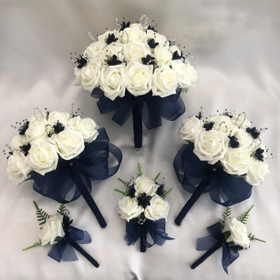 Artificial Wedding Flower Package, 1 Brides Posy Bouquet, 2 Bridesmaids Bouquets, 2 x Buttonholes, 1 x Ladies Corsage, Ivory and Navy Blue