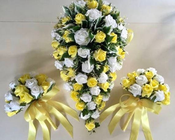 Artificial Wedding Flowers, Brides Teardrop Bouquet with two bridesmaids Posies, Ivory and Yellow Roses, Crystal Sprays