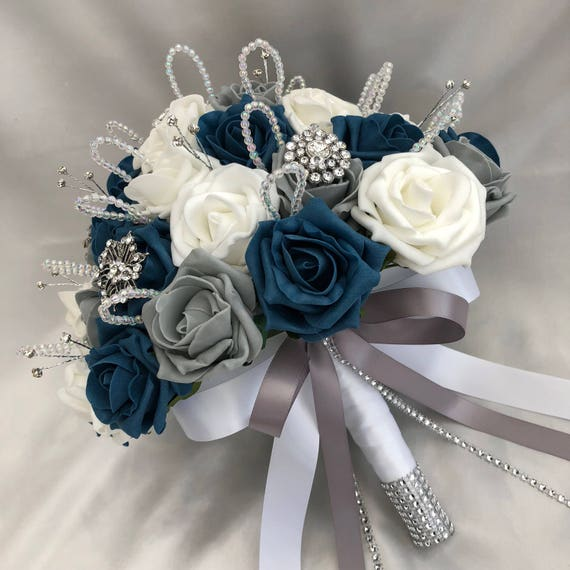 Artificial Wedding Flowers, Brides Posy Bouquet with Teal Blue, Grey and White Roses with brooches, crystals and diamantes