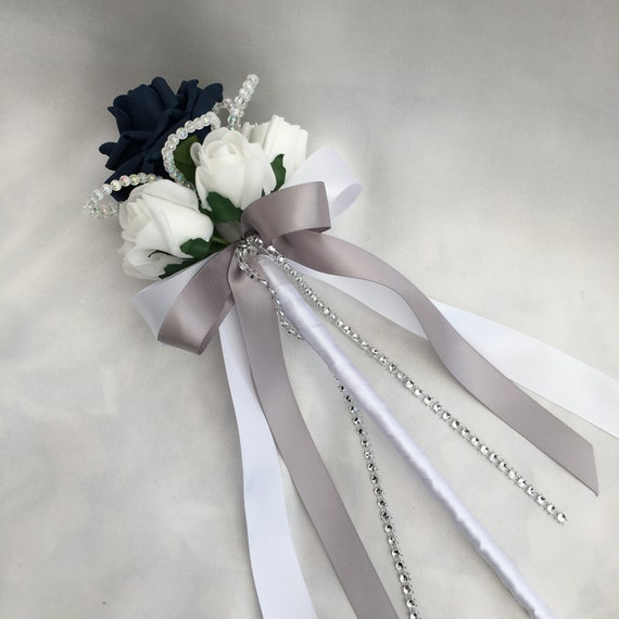 Artificial Wedding Flowers, Flower girls, Bridesmaids, Wand, Navy Blue and White Roses