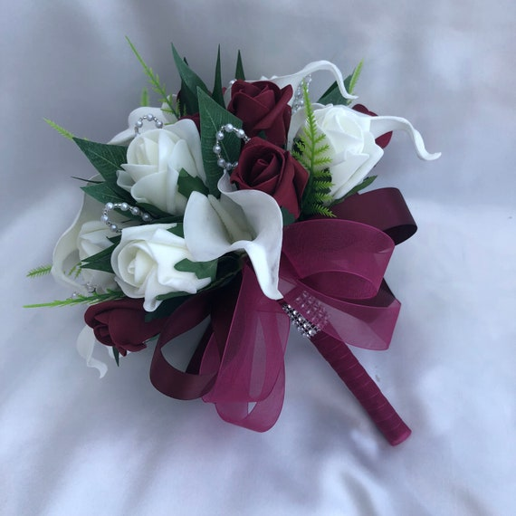 Artificial Wedding Flowers, Bride, Bridesmaids Posy Bouquet with Calla Lilies, Burgundy and Ivory Roses, Foliage, Pearls