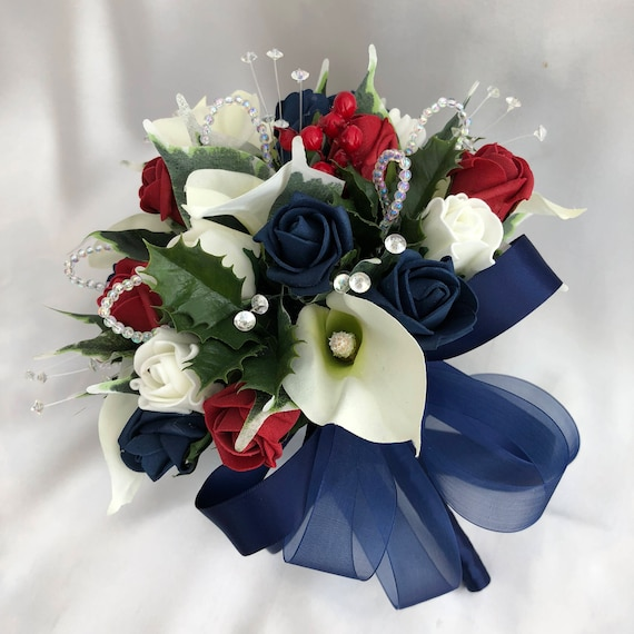 Artificial Wedding Flowers, Brides Posy Bouquet with Calla Lilies, Navy Blue, Red and Ivory Roses, Foliage, Holly, Crystal and Pearl Sprays
