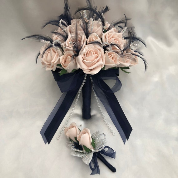 "Artificial Wedding Flowers, Brides Posy Bouquet with 1 Buttonhole, Mocha Pink Roses, Navy Blue Feathers, Diamantes ""ANY COLOUR AVAILABLE"""