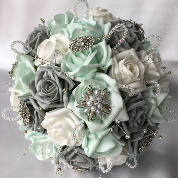 Artificial Wedding Bouquet, Brides Posy Bouquet with Mint Green, Grey and White Roses with brooches, crystals and diamantes