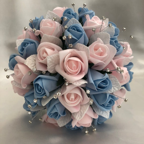 Artificial Wedding Flowers, Brides, Bridesmaids, Flower girls Posy Bouquet with Baby Pink and Blue Roses, Diamantes, White Satin Leaves