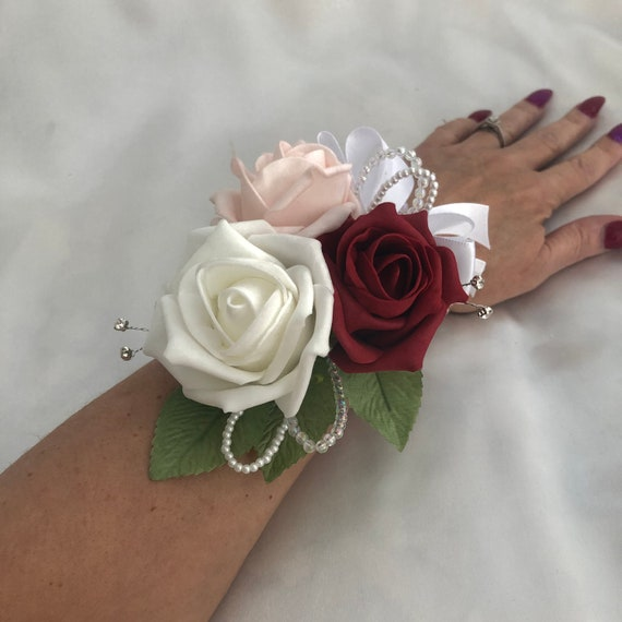 Artificial Wedding Flowers, Ladies Wrist Corsage, Buttonholes, Boutonnieres, Red, White, Pink Roses, crystals, diamantes, crystal wrist band