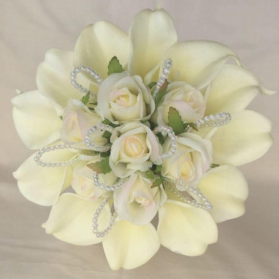Artificial Wedding Flowers, Bridesmaids Posy Bouquet, Ivory Real Touch Calla Lilies, Silk Roses, Crystal Loops