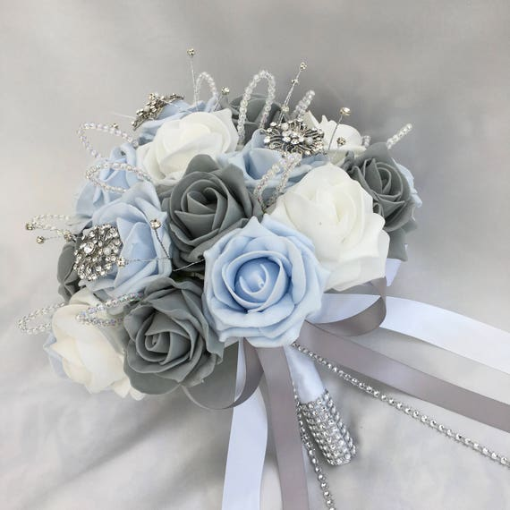 Artificial Wedding Flowers, Brides Posy Bouquet with Baby Blue, Grey and White Roses with brooches, crystals and diamantes