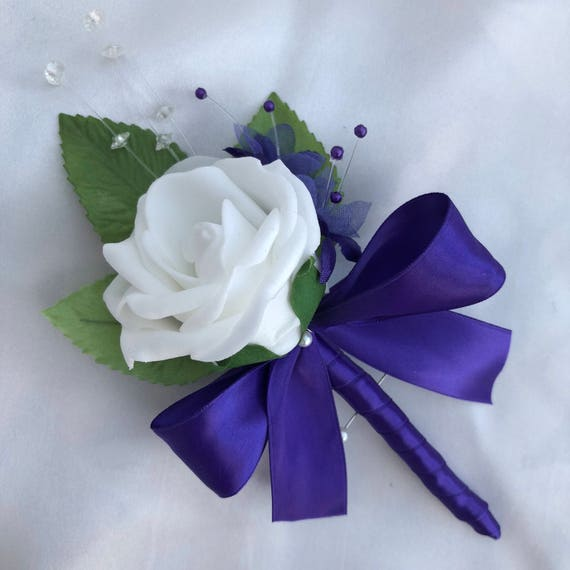 Artificial Wedding Flowers, Buttonholes, Boutonnieres, Ladies Corsage, White Roses, Purple Babies Breath, Crystal Sprays, Satin ribbon
