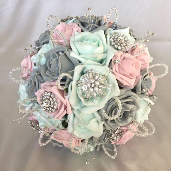 Artificial Wedding Bouquet, Brides Posy Bouquet with Pink, Grey and Mint Green Roses with brooches, crystals and diamantes