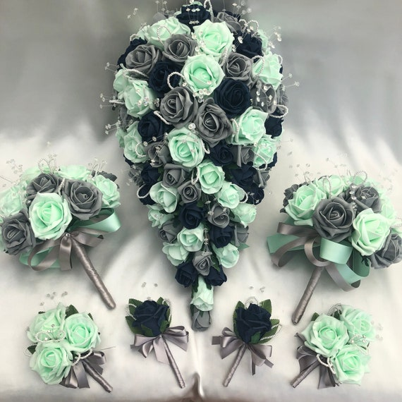 Artificial Wedding Flowers, Brides Bouquet with 2 Bridesmaids Posies, 2 Buttonholes, 2 Ladies Corsages, Mint Green, Navy Blue, Grey Roses