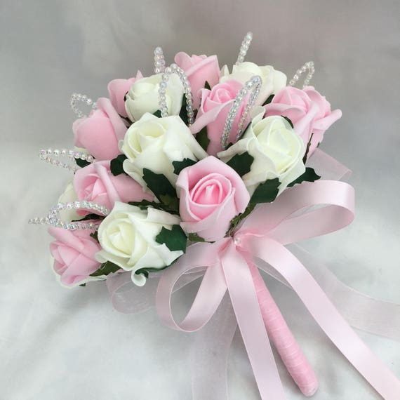 Artificial Wedding Flowers, Brides, Bridesmaids Posy Bouquet with Baby Pink and Ivory Roses, crystal loops