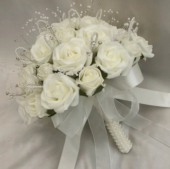 Artificial Wedding Flowers, Brides, Bridesmaids, Posy Bouquet, Ivory Roses, pearls and diamantes