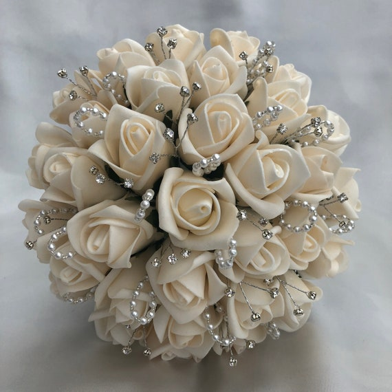 Artificial Wedding Flowers, Brides, Bridesmaids, Flower girls Posy Bouquet with Champagne Roses, Diamantes, pearl/crystal loops