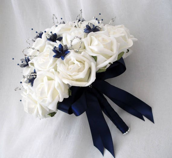 Artificial Wedding Flowers, Brides, Bridesmaids, flower girls Posy Bouquet with Ivory Roses, Navy Blue Babies Breath and silver Loops