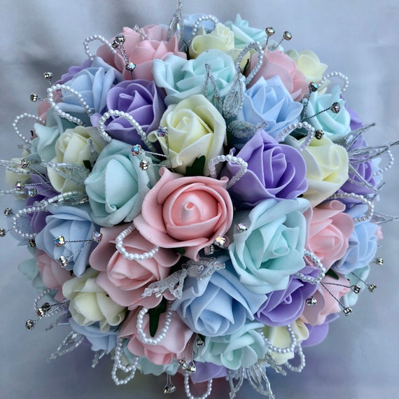 Artificial Wedding Bouquet, Brides, Bridesmaids Posy Bouquet, Pastel Colours, Unicorn, Pink, Lilac, Mint Green, Blue, Lemon Roses
