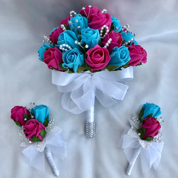 Artificial Wedding Flowers, Brides Posy Bouquet, Ladies Rose Corsage, Double Rose Buttonhole, Boutonniere, Turquoise & Hot Pink Roses