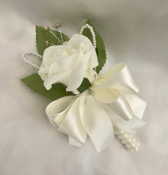 Artificial Wedding Flowers, Buttonholes, Boutonnieres, Ladies Corsage, Ivory Roses with pearls and diamantes