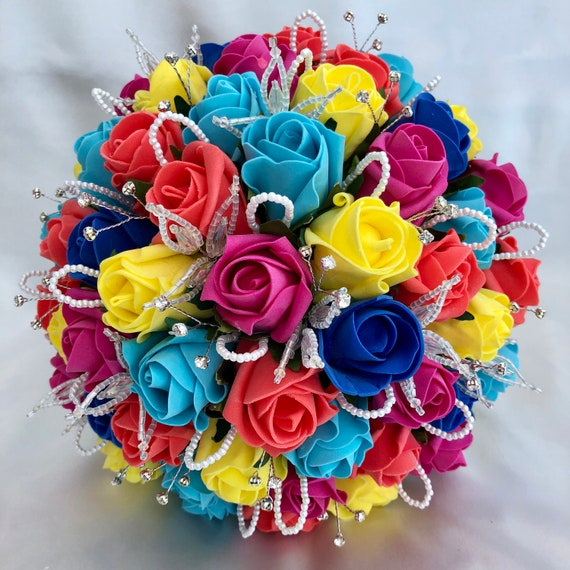 Artificial Wedding Flowers, Brides, Bridesmaids Posy Bouquet, Rainbow Colours, Pride, Turquoise, Roses