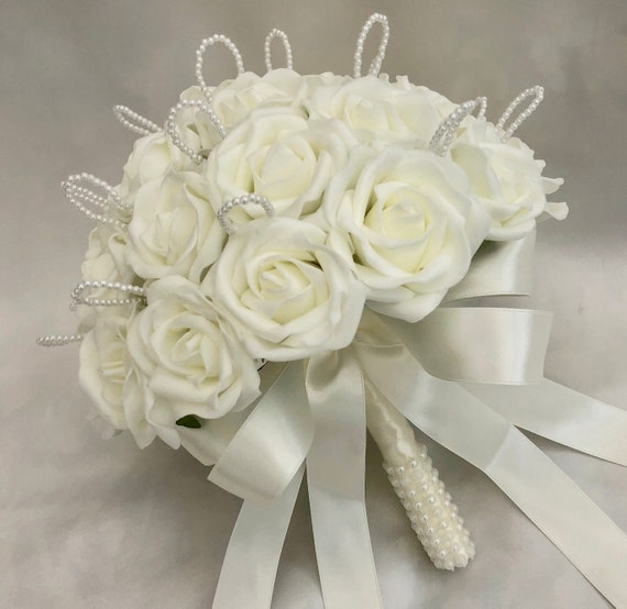 Artificial Wedding Flowers, Brides, Bridesmaids, Flower girls Posy Bouquet, Ivory Roses with pearl loops