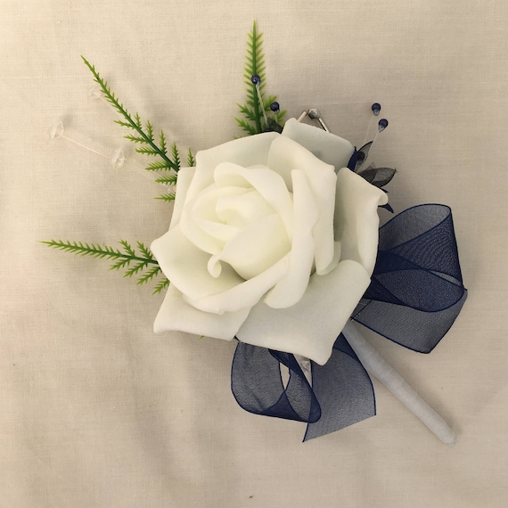 Artificial Wedding Flowers, Buttonholes, Boutonnieres, Ladies Corsage, Navy Blue Roses with crystals and diamantes