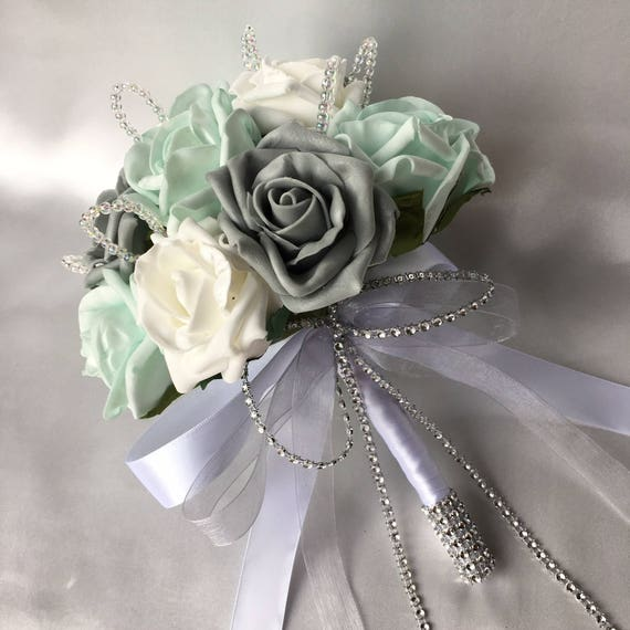 Artificial Wedding Flowers, Brides, Bridesmaids, Flower girls Posy Bouquet with Mint Green, Grey and White Roses with crystal loops
