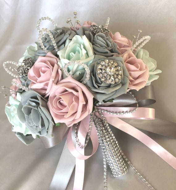 Artificial Wedding Flowers, Brides Posy Bouquet with Pink, Grey and Mint Green Roses with brooches, crystals and diamantes