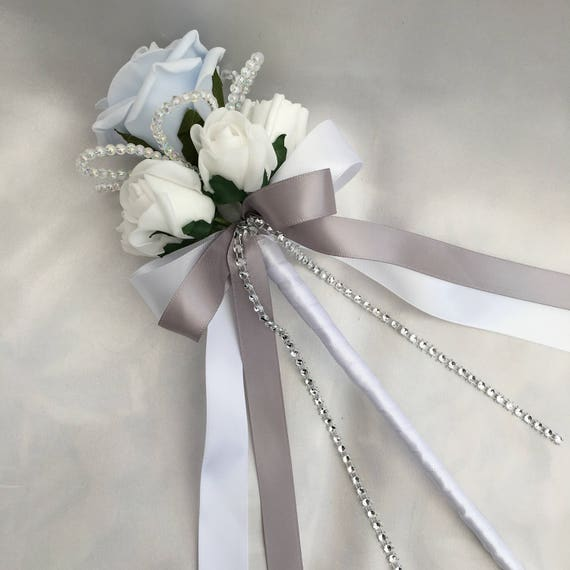 Artificial Wedding Flowers, Flower girls, Bridesmaids, Wand, Baby Blue and White Roses with crystals