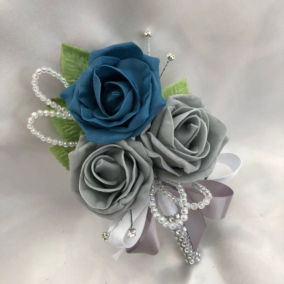 Artificial Wedding Flowers, Buttonholes, Boutonnieres, Ladies Corsage, Teal Blue and Grey Roses with crystals and diamantes