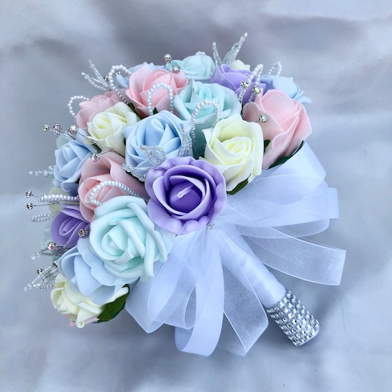 Artificial Wedding Flowers, Brides, Bridesmaids Posy Bouquet, Pastel Colours, Unicorn, Pink, Lilac, Mint Green, Blue, Lemon Roses