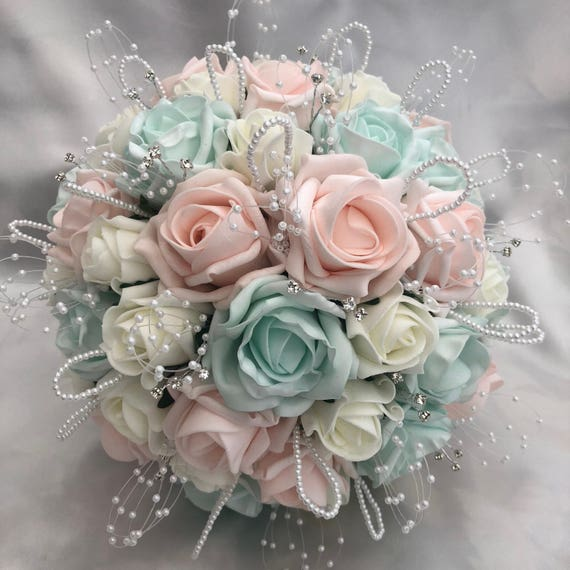Artificial Wedding Bouquet, Brides, Flowergirls, Bridesmaids, Posy Bouquet with Baby Pink, Mint Green & Ivory Roses, pearls and diamantes