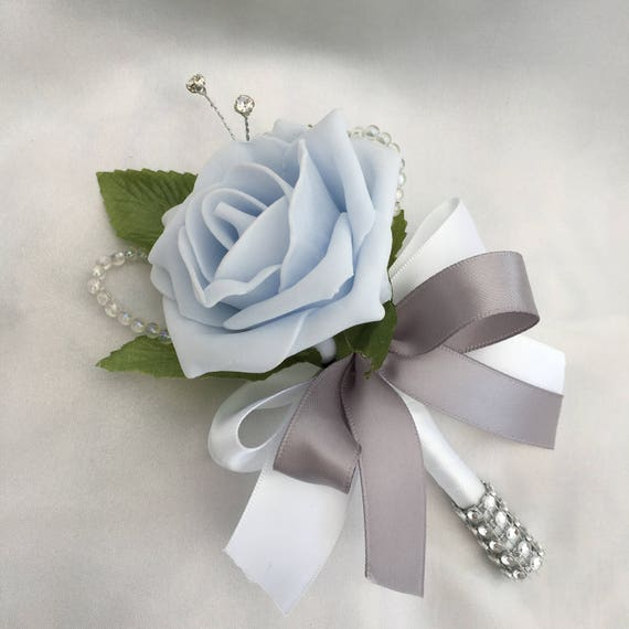 Artificial Wedding Flowers, Buttonholes, Boutonnieres, Ladies Corsage, Baby Blue Roses with crystals and diamantes