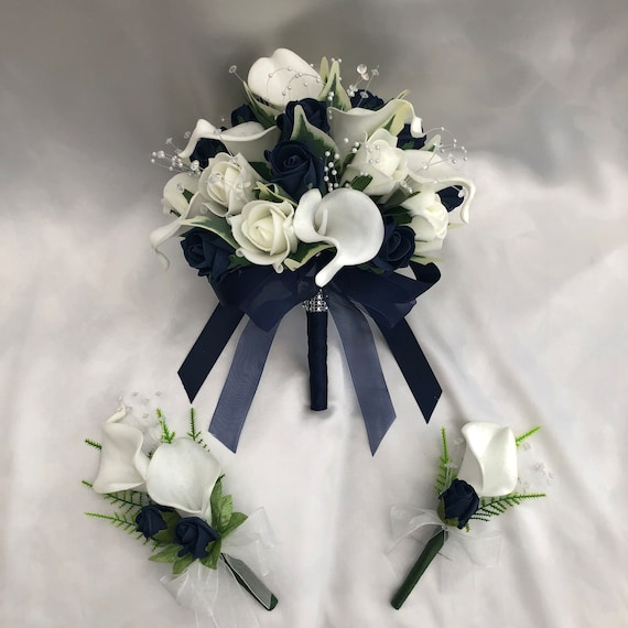 Artificial Wedding Flower Package, Brides Posy Bouquet, 1 x Ladies Corsage, 1 x Buttonhole, Calla Lilies, Navy Blue and Ivory Roses
