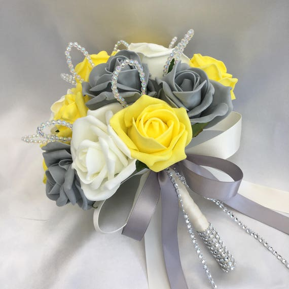Order No. 008 - Artificial Wedding Flowers, Bridesmaids Posy Bouquets, Buttonholes, Corsages, Yellow, Grey, white Roses with crystal loops