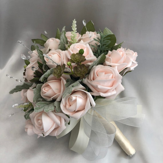 Artificial Wedding Flowers, Brides, Bridesmaids, Posy Bouquet with Baby Pink Roses, Light Green foliage, Crystals