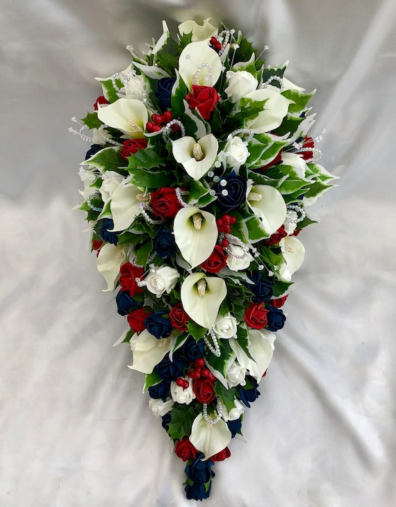 Artificial Wedding Flowers, Brides Teardrop Bouquet, Calla Lilies, Navy Blue, Red and Ivory Roses, Foliage, Holly, Crystal and Pearl Sprays