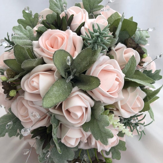 Artificial Wedding Bouquets, Brides, Bridesmaids, Posy Bouquet with Baby Pink Roses, Light Green foliage, Crystals